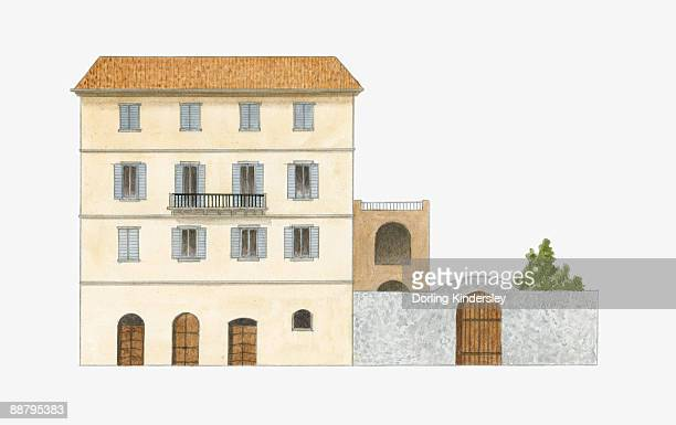 digital illustration of maison noble or, mansion, an unostentatious mansion of the wealthy found on the island of corsica - maison stock illustrations, clip art, cartoons, & icons