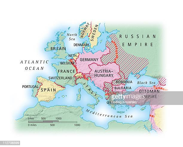 Digital illustration of map of Europe during World War I