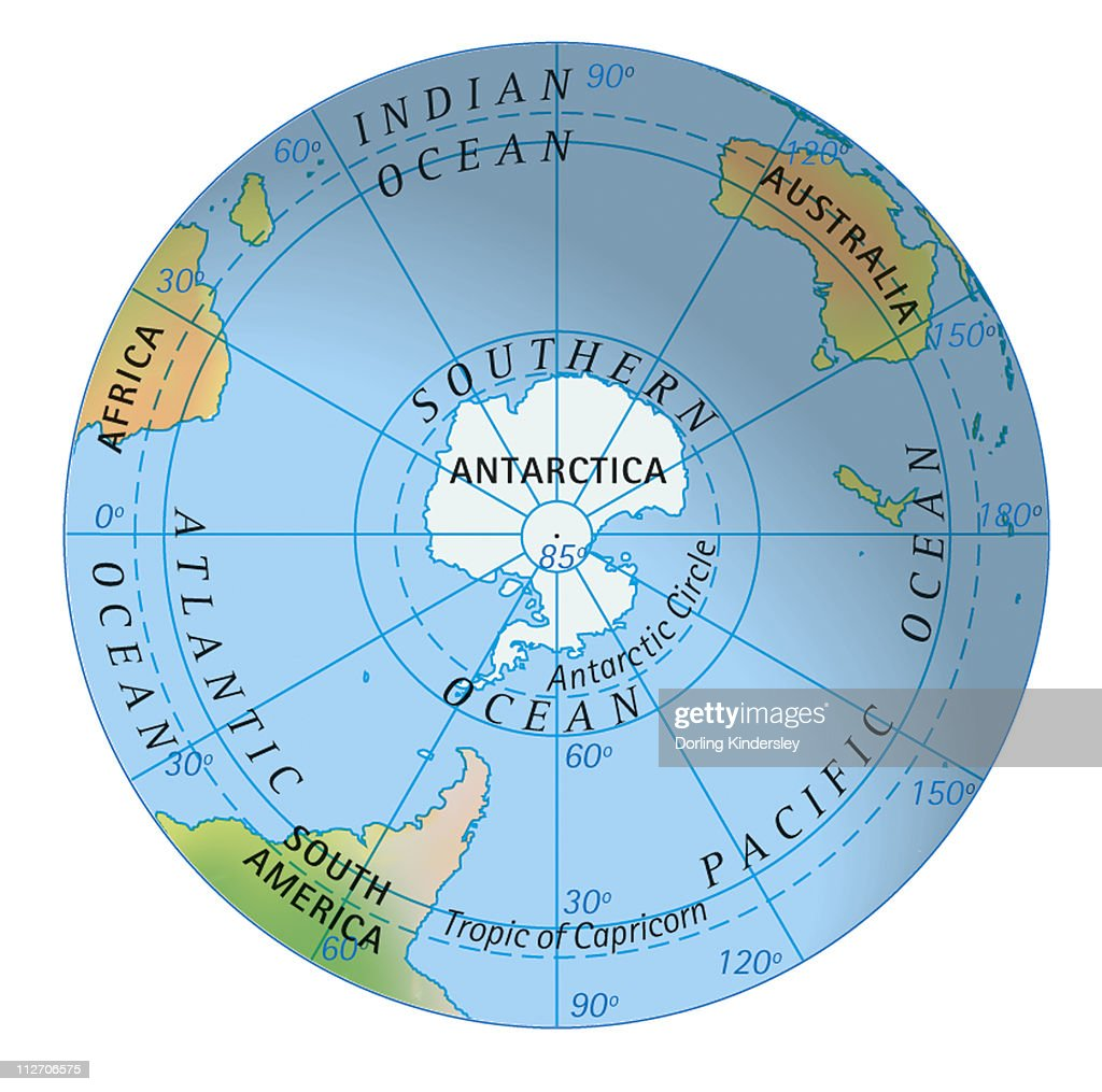 Stock Quote Southern Company: Digital Illustration Of Map Of Southern Hemisphere Stock