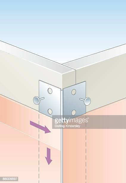 digital illustration of metal corner bead strengthened with filler and nailed to external corner in plasterboard  - corner of building stock illustrations, clip art, cartoons, & icons