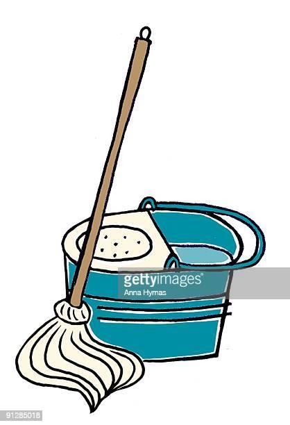 Digital illustration of mop and bucket