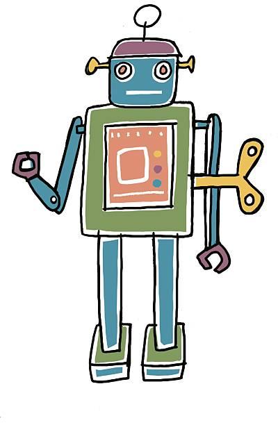 Digital illustration of old fashioned clockwork robot