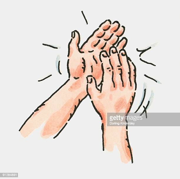 digital illustration of pair of clapping hands - applauding stock illustrations, clip art, cartoons, & icons
