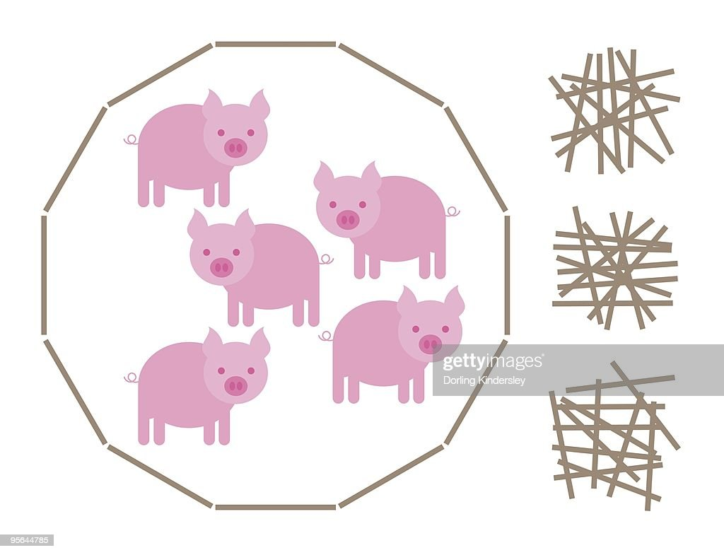 Digital illustration of pig and stick IQ game : Stock Illustration