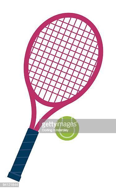 ilustraciones, imágenes clip art, dibujos animados e iconos de stock de digital illustration of pink and blue tennis bat and green ball - raqueta de tenis