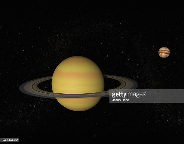 digital illustration of saturn and jupiter - jupiter planet stock illustrations