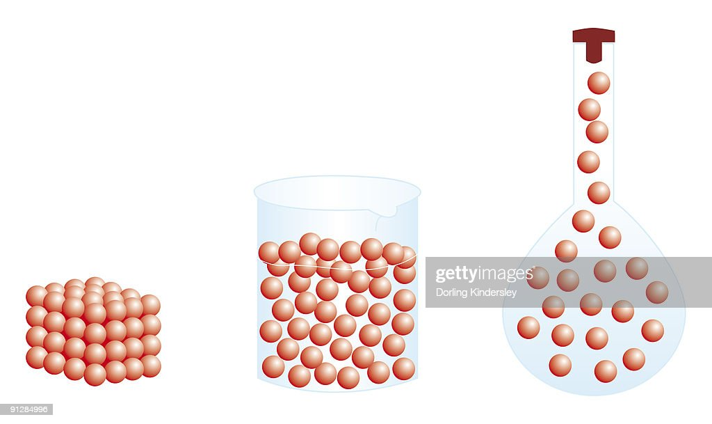 Digital illustration of showing shape and volume of solid gas, and liquid gas taking shape of conica : Stock Illustration