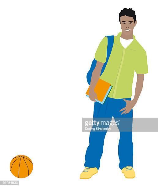 Digital illustration of smiling teenager with bag on shoulder, holding book, standing near basketbal