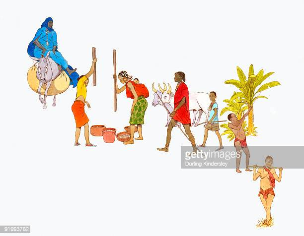 ilustraciones, imágenes clip art, dibujos animados e iconos de stock de digital illustration of the people of tuareg, ashanti, masai, pygmy and bushmen tribes of africa - masai