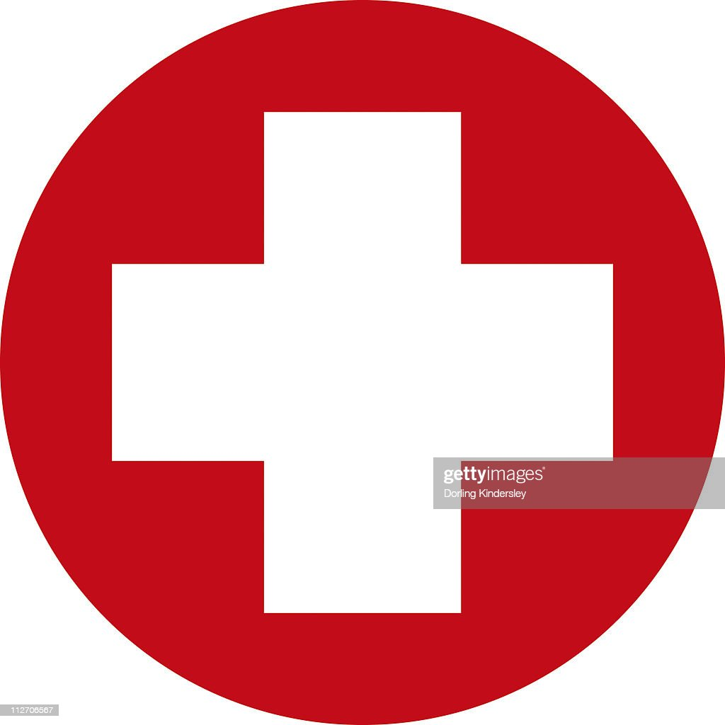 Digital illustration of white first aid cross in red circle on digital illustration of white first aid cross in red circle on white background stock illustration buycottarizona Image collections