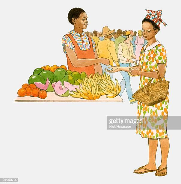 ilustraciones, imágenes clip art, dibujos animados e iconos de stock de digital illustration of woman buying fruit from market stall - puesto de mercado