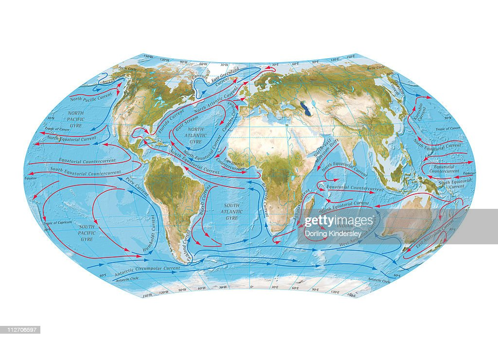 Digital illustration of world map showing ocean currents stock digital illustration of world map showing ocean currents stock illustration gumiabroncs Images