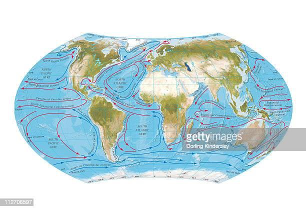 ilustraciones, imágenes clip art, dibujos animados e iconos de stock de digital illustration of world map showing ocean currents - marea