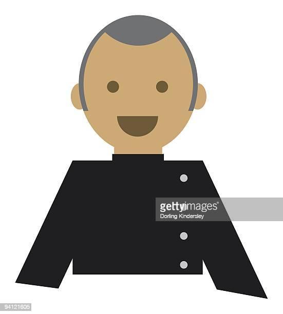 digital illustration representing man wearing black uniform - black studio点のイラスト素材/クリップアート素材/マンガ素材/アイコン素材