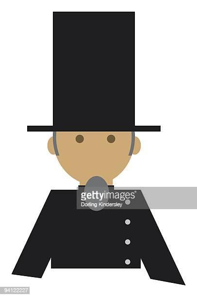 Digital illustration representing man wearing stovepipe, or top hat
