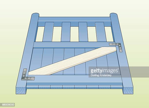 ilustrações, clipart, desenhos animados e ícones de digital illustration showing diagonal brace on wooden gate, with joints reinforced by l-shaped brackets - suporte angular