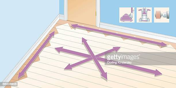 digital illustration showing different areas of wooden floor, and insets of sander and attachment - floorboard stock illustrations, clip art, cartoons, & icons
