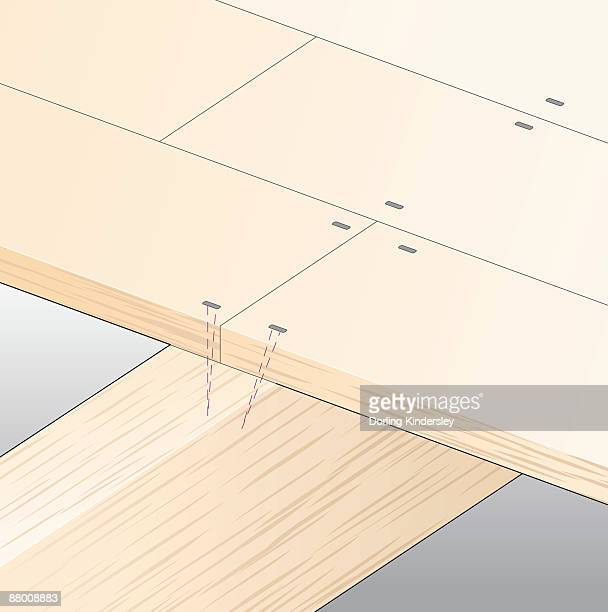 digital illustration showing timber floorboards nailed to joist - floorboard stock illustrations, clip art, cartoons, & icons