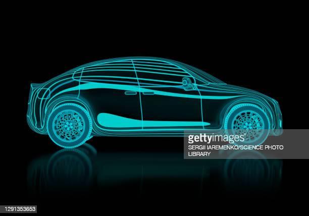 digital model of a car, illustration - transportation stock illustrations