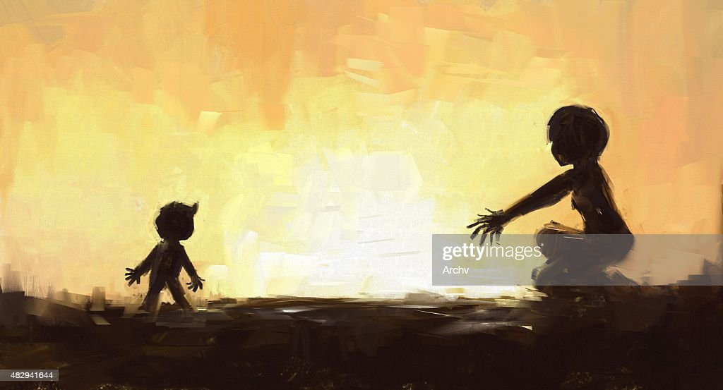 digital painting of mother and son at the sunset time : stock illustration