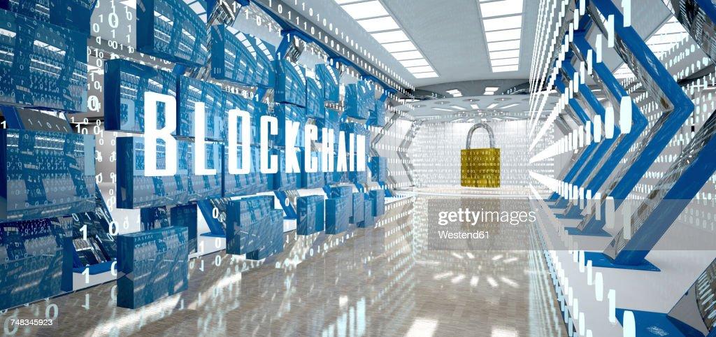 Digital room with padlock and word blockchain, 3d illustration : ストックイラストレーション