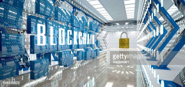 digital room with padlock and word blockchain, 3d illustration - cryptocurrency stock illustrations