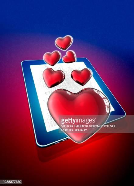 digital tablet with heart shapes, illustration - mobile app stock illustrations