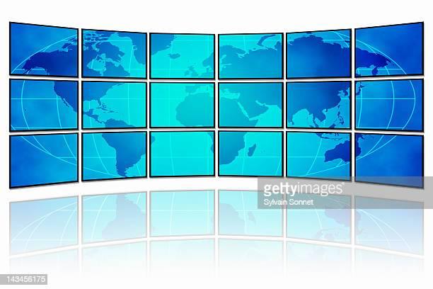 digital world map - studio shot stock illustrations, clip art, cartoons, & icons