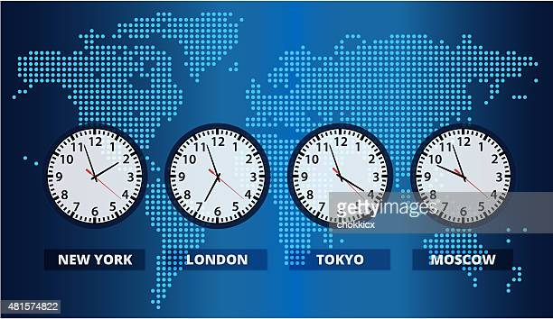 Digital World Map with Time Zone Clocks