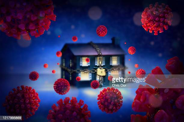 ilustraciones, imágenes clip art, dibujos animados e iconos de stock de digitally generated image of chained up house surrounded with coronaviruses - cuarentena
