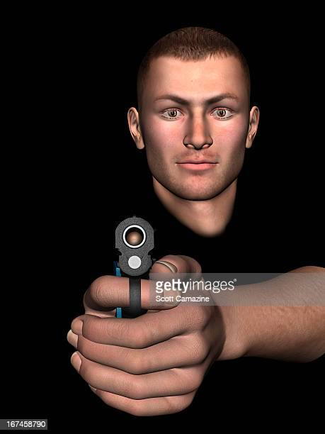 digitally generated image of man aiming at camera with pistol - one young man only stock illustrations