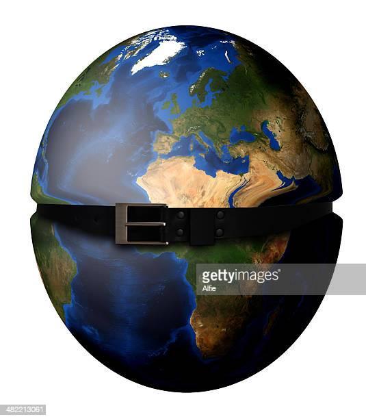 Criação Digital de planeta Terra apertando com cinto