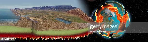 digitally generated image of san andreas geologic transform fault through california - san andreas fault stock illustrations