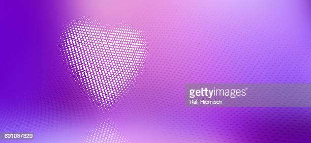 digitally generated image of spotted heart against purple background - colour gradient stock illustrations