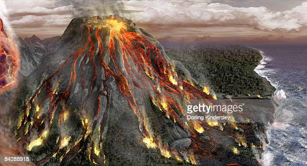 digitally generated image of volcano after first eruption - molten stock illustrations, clip art, cartoons, & icons