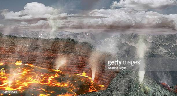 digitally generated image of volcano in early stages of eruption - volcanic crater stock illustrations, clip art, cartoons, & icons