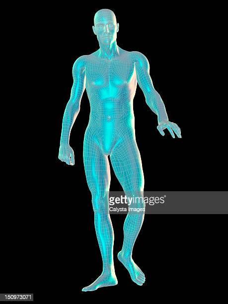 Digitally generated image of walking male representation