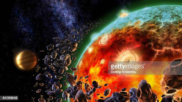 digitally generated image showing volcanic eruptions during formation of earth - lava stock illustrations