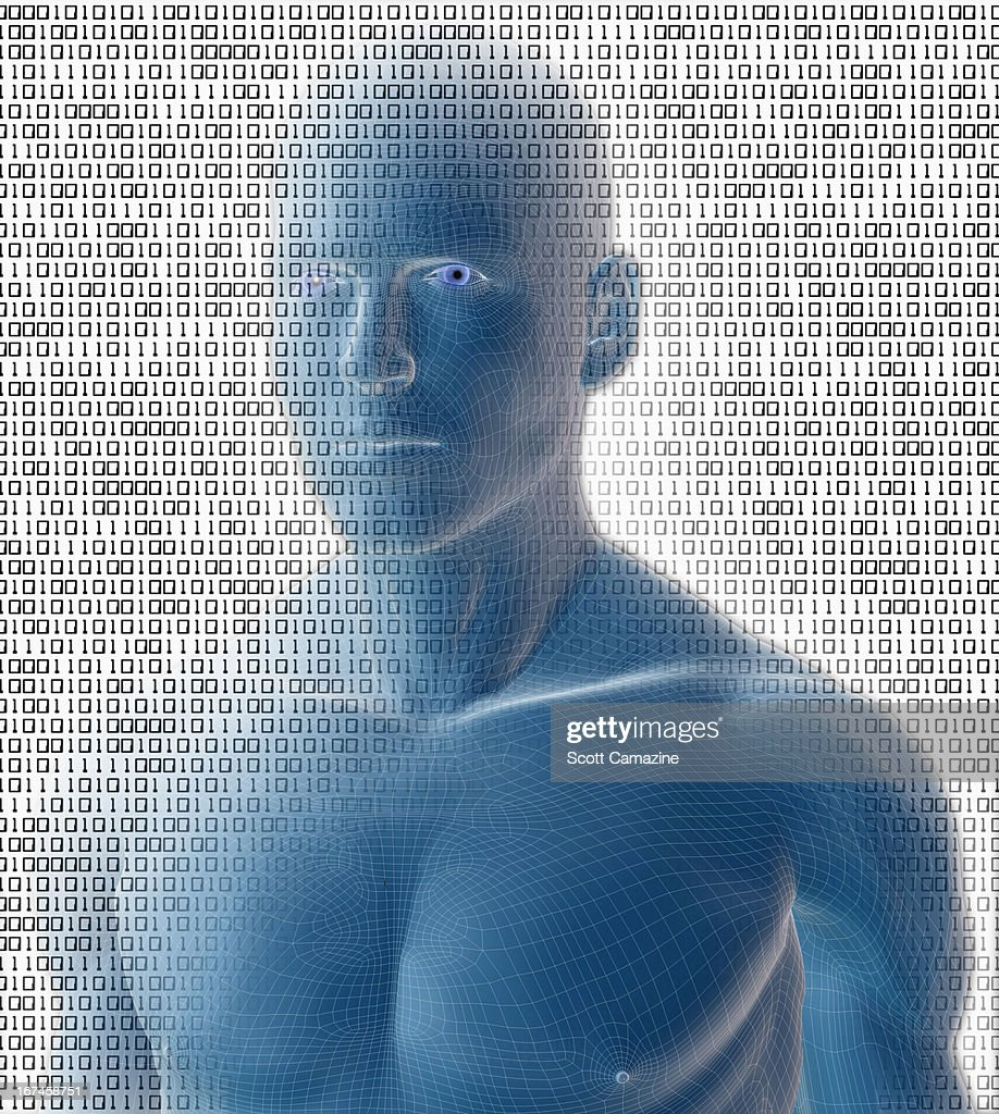 Digitally generated male figure against binary code background : Stock Illustration