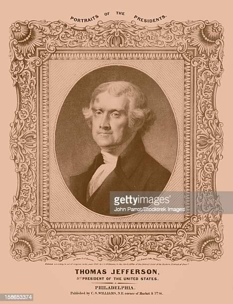 digitally restored artwork of president, vice-president, founding father, and author of the declaration of independence, thomas jefferson. - historical document stock illustrations, clip art, cartoons, & icons