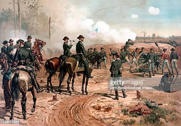 digitally restored civil war artwork featuring general william tecumseh sherman on horseback observing the siege of atlanta. - cavalry stock illustrations