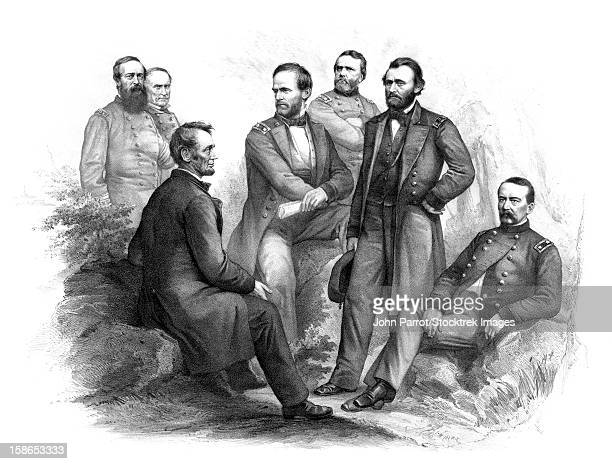digitally restored civil war artwork of abraham lincoln and his commanders. - ulysses s grant stock illustrations