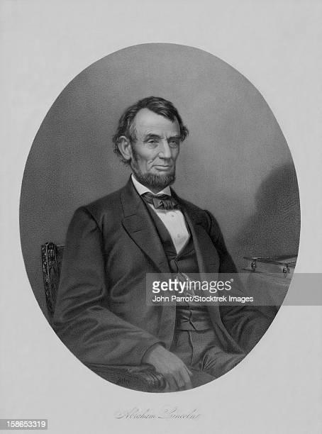 Digitally restored Civil War artwork of President Abraham Lincoln sitting in a chair.