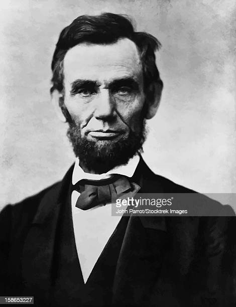 Digitally restored Civil War era vector photograph of President Abraham Lincoln.