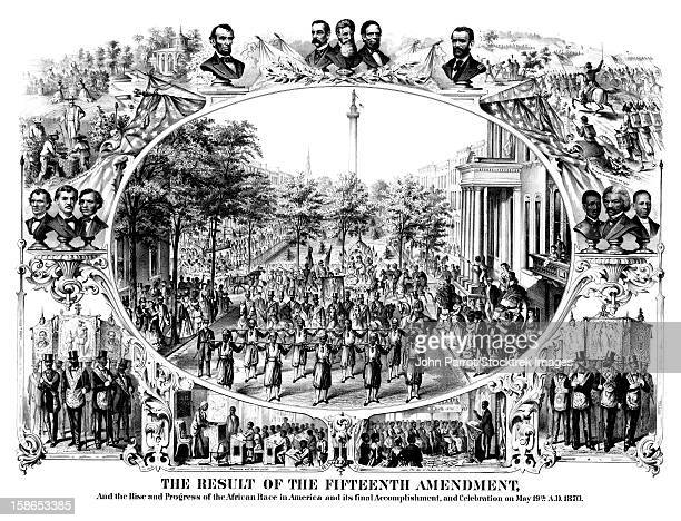 digitally restored civil war print of the fifteenth amendment and its results. - ulysses s grant stock illustrations