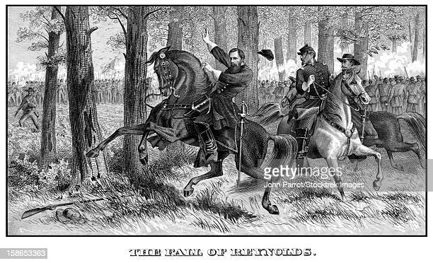 Digitally restored Civil War print of Union General John Reynolds being killed at The Battle of Gettysburg. The print is titled, The Fall Of Reynolds.