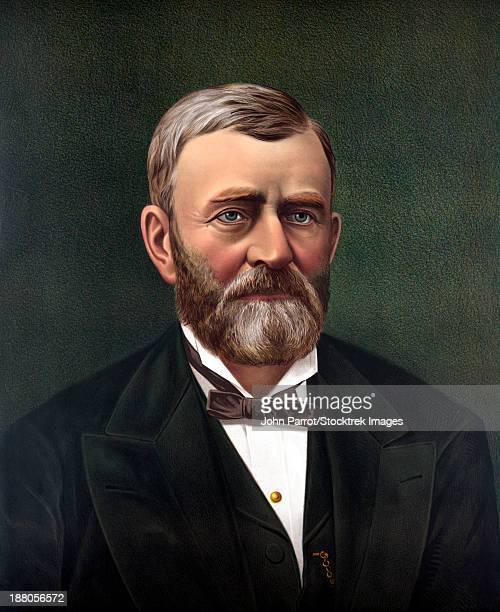 digitally restored color portrait of president ulysses s. grant. - ölgemälde stock-grafiken, -clipart, -cartoons und -symbole