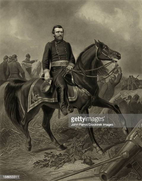 digitally restored picture of general grant during the american civil war, leading troops, mounted on his horse. - general military rank stock illustrations