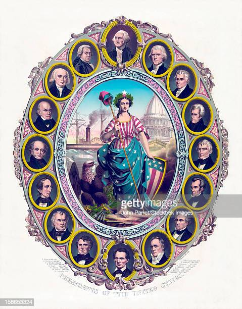 ilustraciones, imágenes clip art, dibujos animados e iconos de stock de digitally restored print featuring lady liberty and the first sixteen presidents of the united states. lady liberty wears an american flag dress and is holding her shield. - thomas jefferson