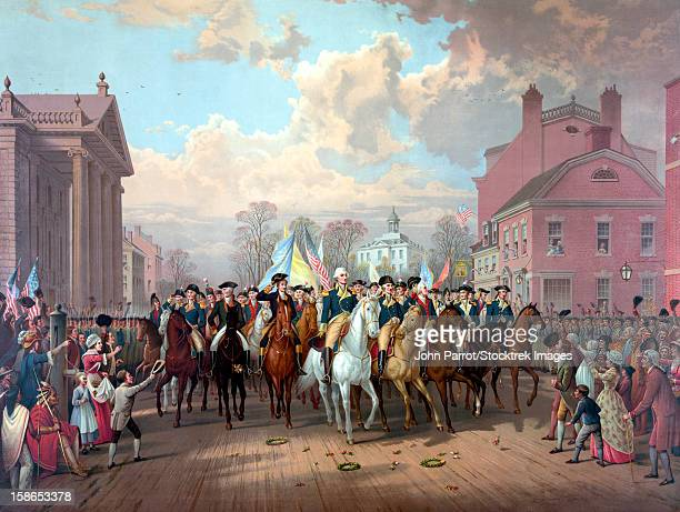 digitally restored revolutionary war painting of general george washington and his men, triumphantly entering new york city as crowds cheer, november 25, 1783. - 18th century stock illustrations